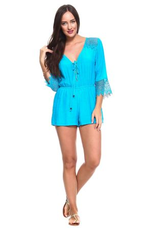 Wholesale Clothing Women's Sexy V Neck Crochet Trim Romper with Drawstring Waistline -NC-1059