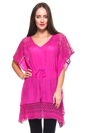 Wholesale Fashion Women's Crochet Accented Kimono Cover Up Top with Waist Drawstring -NC-1060