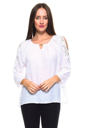 Wholesale Fashion Women's Crochet Trimmed Open Shoulder 3/4 Sleeve Top -NC-1061