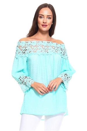 Wholesale Clothing Women's Crochet Lace Trim 3/4 Sleeve  Peasant Top -NC-1062-A