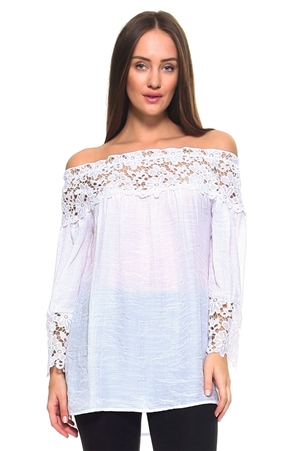 Wholesale Clothing Plus Size Women's Crochet Lace Trim 3/4 Sleeve  Peasant Top -NC-1062-B