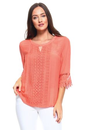 Wholesale Clothing Women's Crochet Trim Design ¾ Sleeve Scoop Neck Top -NC-1064