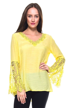 Wholesale Fashion Women's Crochet Trimmed Bell Sleeve V Neck Top -NC-1065