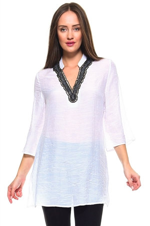 Wholesale Fashion Women's Mandarin Collar 3/4 Sleeve Rhinestone Accented V Neck Tunic Top -NC-1066