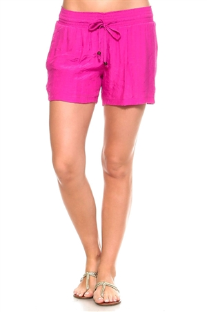 Wholesale Fashion Women's Casual Shorts with Smocked Drawstring Waistline -NC-1068