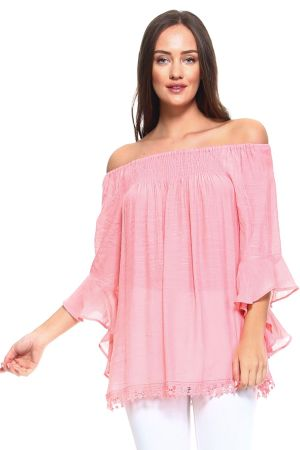 Wholesale Clothing Women's Sexy Ruffled Bell Sleeve Crochet Trim Hem Peasant Style Top -NC-1069