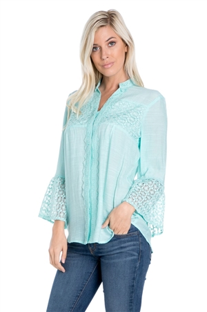 Wholesale Clothing Plus Size Women's Crochet Lace Bell Sleeve Mandarin Collar Top -NC-1072-B