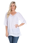Wholesale Clothing Women's Crochet Lace Trimmed 3/4 Sleeve V Neck Top -NC-1073-A