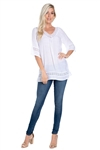Wholesale Clothing Plus Size Women's Crochet Lace Trimmed 3/4 Sleeve V Neck Top -NC-1073-B