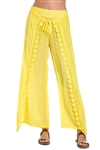 Wholesale Clothing Women's Crochet Trim Layered Flowy Wide Pants -NC-1078-A