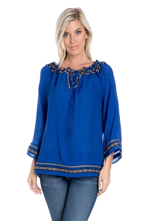 Wholesale Clothing Women's Bell Sleeve Boho Peasant Tunic Top -NC-1080-A