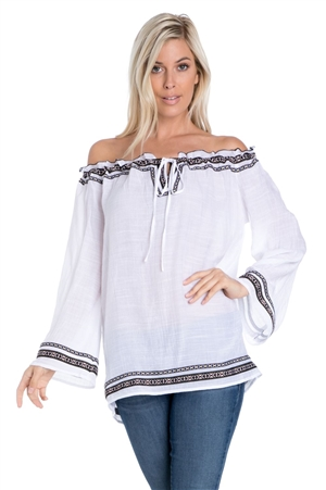 Wholesale Clothing Plus Size Women's Bell Sleeve Boho Peasant Tunic Top -NC-1080-B