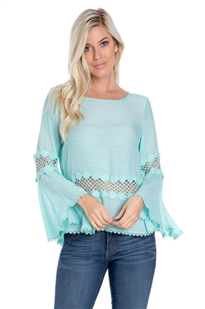Wholesale Clothing Women's Crochet Lace Trimmed Bell Sleeve Top -NC-1081-A