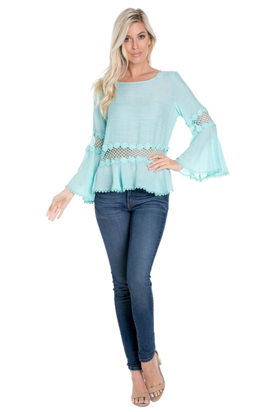 Wholesale Clothing Plus Size Women's Crochet Lace Trimmed Bell Sleeve Top -NC-1081-B