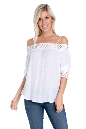 Wholesale Clothing Women's Crochet Trim 3/4 Sleeve  Peasant Top -NC-1082-A