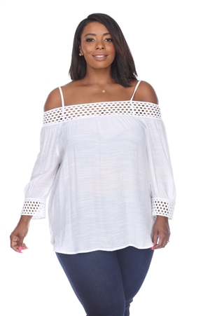Wholesale Clothing Plus Size Women's Crochet Trim 3/4 Sleeve  Peasant Top -NC-1082-B