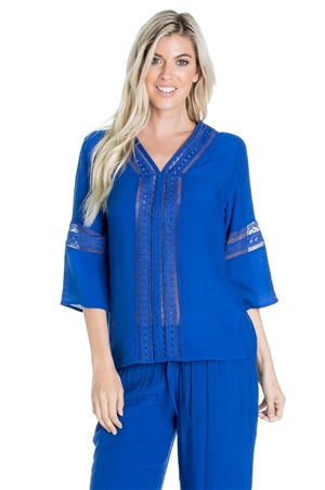 Wholesale Clothing Women's Resort Wear Crochet Trim 3/4 Sleeve V Neck Tunic Top -NC-1101-A