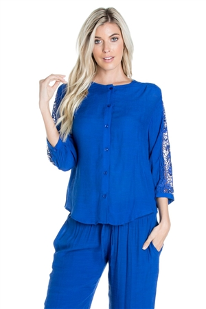 Wholesale Clothing Women's Resort Wear Crochet Trim 3/4 Sleeve Button Down Top -NC-1103-A