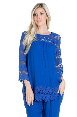 Wholesale Clothing Women's Resort Wear Crochet Lace Trim 3/4 Sleeve Tunic Top -NC-1104-A