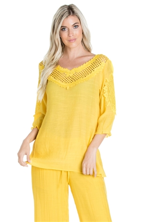 Wholesale Clothing Women's Resort Wear Crochet Trim 3/4 Sleeve  Scoop Neck Top -NC-1106-A