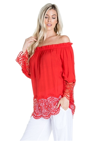 Wholesale Clothing Women's Resort Wear Crochet Trim Sleeve  Peasant Tunic Top -NC-1109-A