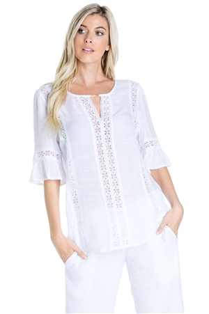Wholesale Clothing Women's Resort Wear Crochet Trim ¾ Flared Sleeve Tunic Top -NC-1110-A