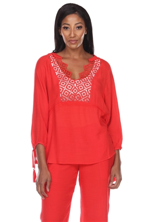 Wholesale Clothing Women's Resort Wear Crochet Lace Trim V Neck 3/4 Sleeve Tunic Top -NC-1113-A