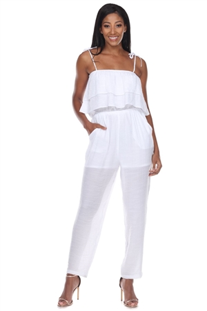 Wholesale Clothing Women's Resort Wear Spaghetti Strap Tier Layered Jumpsuit -NC-1114-A