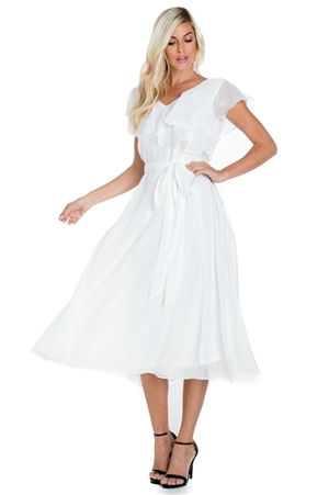 Wholesale Clothing Women's Sexy Ruffled Tiered Wrap Cocktail Dress Fully Lined -NC-1806-A