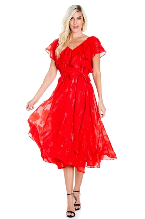 Wholesale Clothing Plus Size Women's Sexy Ruffled Tiered Wrap Cocktail Dress Fully Lined -NC-1806-B