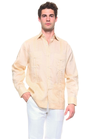Wholesale Clothing Men's Genuine Mojito Signature Collection 100% Linen Classic Guayabera Shirt 4 Pocket Long Sleeve -NC-2588-A