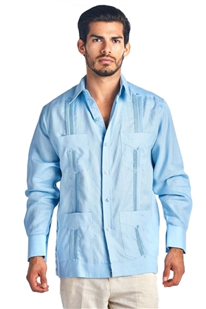 Wholesale Clothing Big & Tall Men's Genuine Mojito Signature Collection 100% Linen Classic Guayabera Shirt 4 Pocket Long Sleeve -NC-2588-C