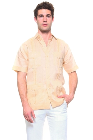 Wholesale Clothing Men's Genuine Mojito Signature Collection 100% Linen Classic Guayabera Shirt 4 Pocket Short Sleeve -NC-2619-A