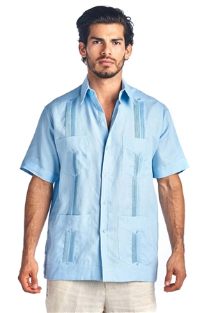 Wholesale Clothing Men's Genuine Mojito Signature Collection 100% Linen Classic Guayabera Shirt 4 Pocket Short Sleeve -NC-2619-B