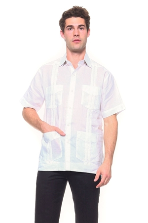 Wholesale Clothing Big & Tall Men's Genuine Mojito Signature Collection 100% Linen Classic Guayabera Shirt 4 Pocket Short Sleeve -NC-2619-C