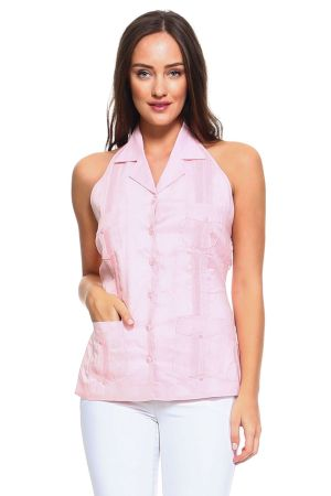 Wholesale Clothing Women's Sexy Guayabera Button Down Linen Halter Top -NC-2962-A