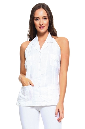 Wholesale Clothing Women's Sexy Guayabera Button Down Linen Halter Top -NC-2962-B