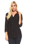Women's Diamond Pattern Crochet Lace Button down 3/4 Sleeve Twin Set with Cami
