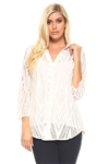 Plus Size Women's Diamond Pattern Crochet Lace Button down 3/4 Sleeve Twin Set with Cami