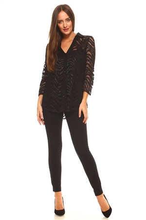 Plus Size Women's Wavy Pattern Crochet Lace Button down 3/4 Sleeve Twin Set with Cami