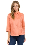 Wholesale Clothing Women's Traditional Guayabera Shirt Premium 100% Linen 3/4 Sleeves 4 Pocket Design -NC-4007-B
