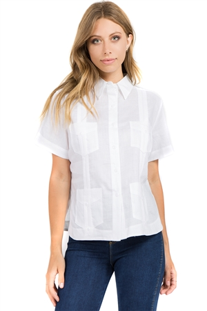 Wholesale Clothing Women's Traditional Guayabera Shirt Premium 100% Linen Short Sleeve 4 Pocket Design -NC-4008-A