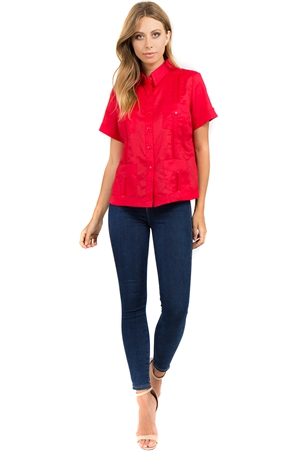 Wholesale Clothing Women's Traditional Guayabera Shirt Premium 100% Linen Short Sleeve 4 Pocket Design -NC-4008-B