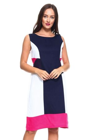 Wholesale Clothing  Women's Color Block Sleeveless Linen Mid Dress with Full Lining  -NC-4634-HPINK-A