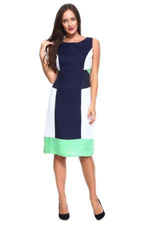 Wholesale Clothing  Women's Color Block Sleeveless Linen Mid Dress with Full Lining  -NC-4634-MINT-A