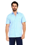 Wholesale Clothing Men's Traditional Guayabera Shirt Premium 100% Linen Short Sleeve  4 Pocket  Design  -NC-4678-A