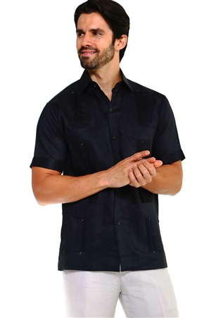 Wholesale Clothing Men's Traditional Guayabera Shirt Premium 100% Linen Short Sleeve  4 Pocket  Design  -NC-4678-B