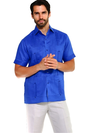 Wholesale Clothing Men's Big & Tall Traditional Guayabera Shirt Premium 100% Linen Short Sleeve  4 Pocket  Design -NC-4678-C