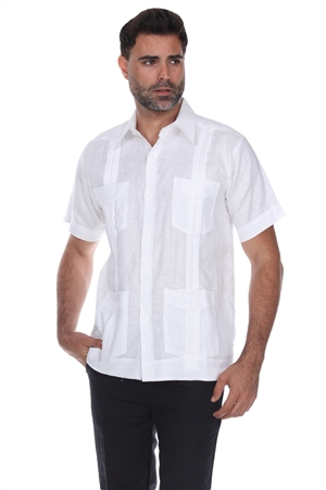 Wholesale Clothing Men's Bigger & Taller Traditional Guayabera Shirt Premium 100% Linen Short Sleeve  4 Pocket  Design  -NC-4678-CC