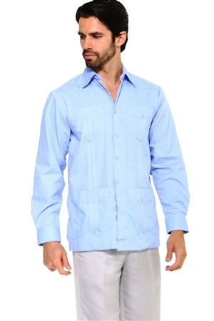 Wholesale Clothing Men's Traditional Guayabera Shirt Premium 100% Linen Long Sleeve  4 Pocket  Design  -NC-4680-A